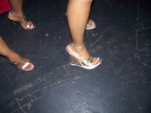 Gold shoes at Tabou Combo